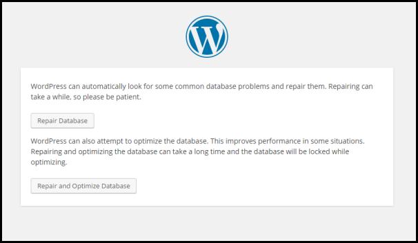 WordPress Database Repair feature