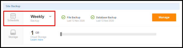 schedule and weekly option for site backup