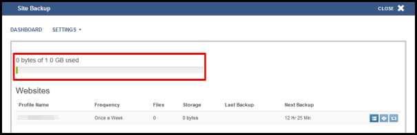 site back up dashboard showing storage limit