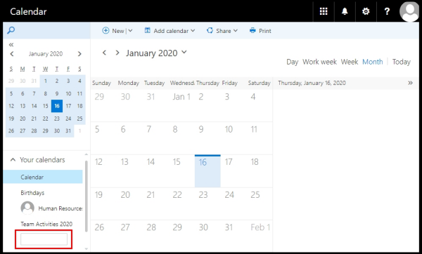 text box to add name for new calendar on OWA
