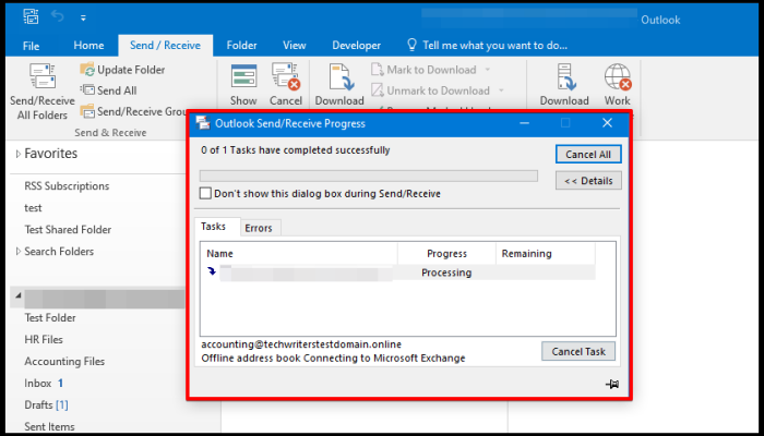 download address book offline progress window on outlook