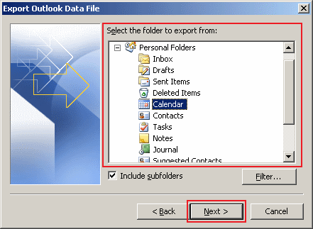 how to export data in Outlook 2010 step 5