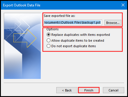 export data file on outlook 2019 file location