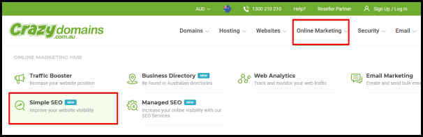 simple seo option on crazy domain main page