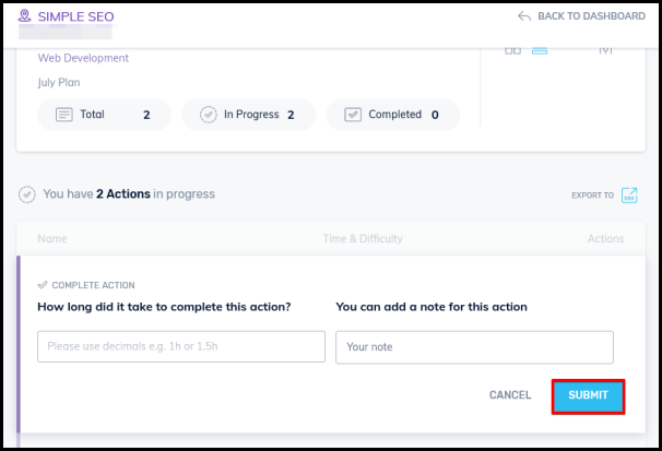 action plan progress bar