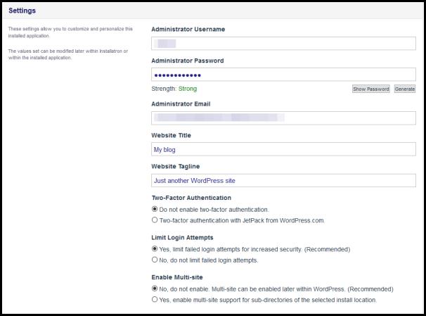 setting for wordpress installation
