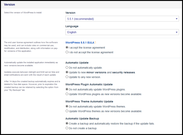 version setting for wordpress installation