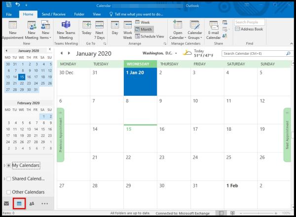 how to open calendar outlook