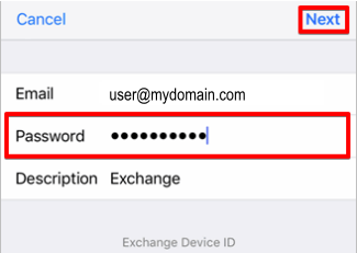 MS Email Exchange setup instructions for iPhone and iPad step 7