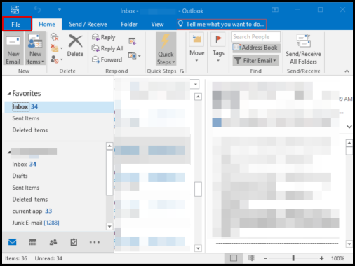 set up premium email account with CrazyDomains on outlook, click File tab