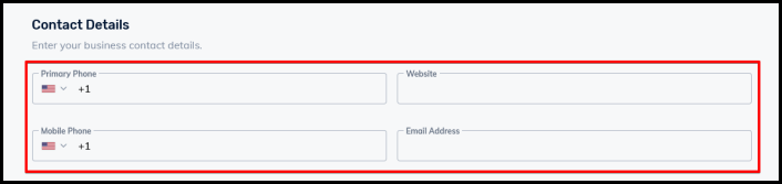 contact details input box for business directory settings