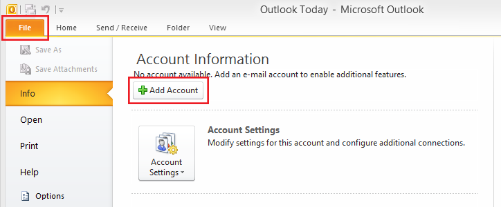 setting up outlook 2010 step 2