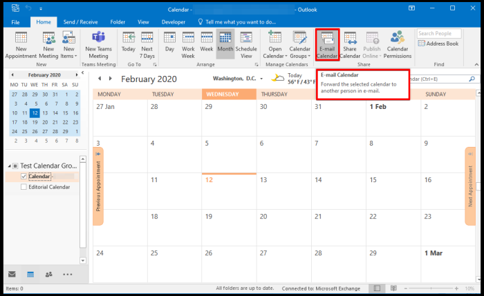 publish calendar online on outlook
