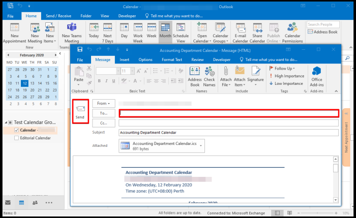 how to email calendar on Outlook