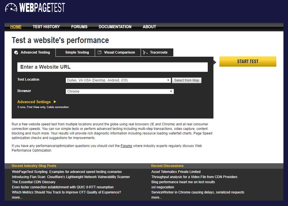 speed test tool example