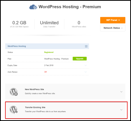 transfer existing site for wordpress hosting