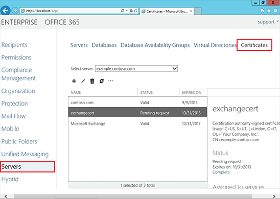 Install an SSL Certificate on an Exchange 2013 server step 5