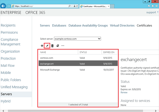Install an SSL Certificate on an Exchange 2013 server step 9
