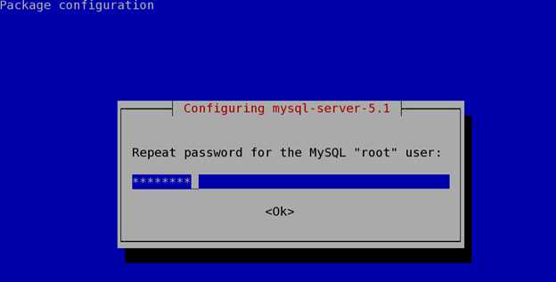 install a mysql database server on debian or ubunto step 6 confirm password
