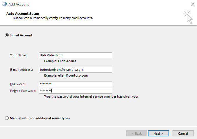 Outlook 2016 setup instructions for MS Email Exchange step 5