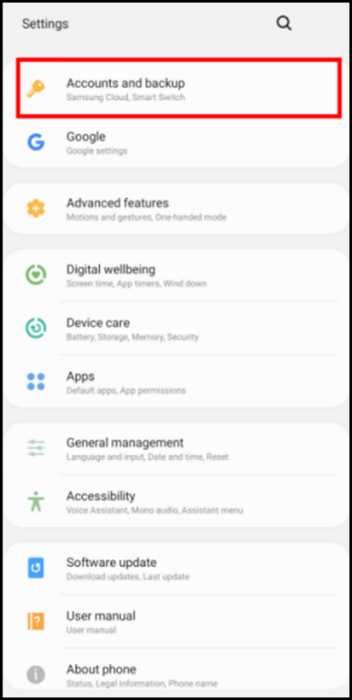 main menu settings for Exchange on Android device