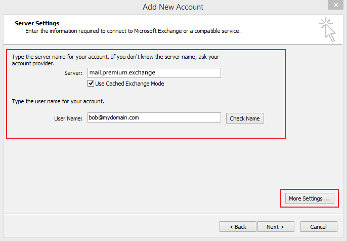 Set up Email Exchange using Outlook 2010 instructions step 7