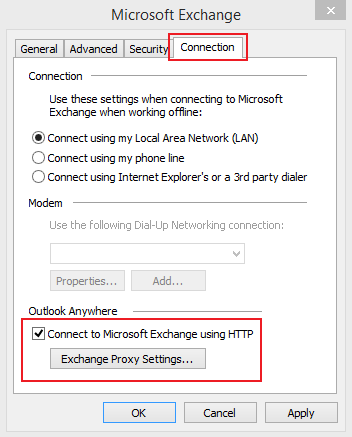 Set up Email Exchange using Outlook 2010 instructions step 8
