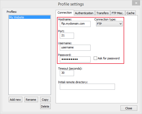 using notepad to upload with hostname, port,username and password details