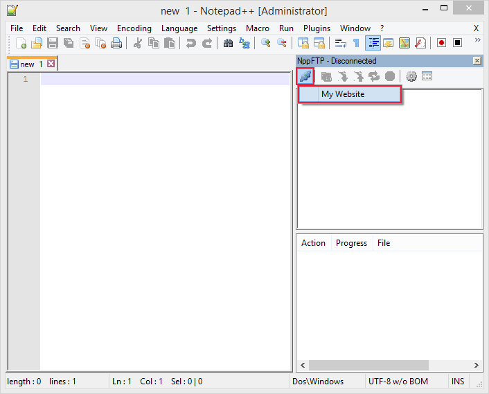 using notepad to upload when NppFTP is disconnected