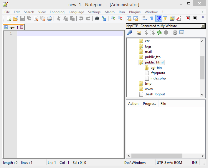 using notepad to upload when connected to my website and public html