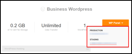 Production and Staging admin link in WordPress Hosting manager page